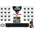 Kit Vidéo Surveillance PRO IP : 24x Caméras POE Dômes AUTOZOOM X5 IR 35M SONY 1080P + Enregistreur NVR 32 canaux H264 3000 Go