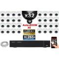 Kit Vidéo Surveillance PRO IP : 32x Caméras POE Dômes AUTOZOOM X5 IR 35M SONY 1080P + Enregistreur NVR 36 canaux H265+ 3000 Go