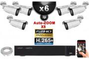 Kit Vidéo Surveillance PRO IP : 6x Caméras POE Tubes AUTOZOOM X5 IR 60M SONY 1080P + Enregistreur NVR 16 canaux H265+ 3000 Go