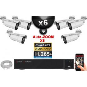 Kit Vidéo Surveillance PRO IP : 6x Caméras POE Tubes AUTOZOOM X5 IR 60M SONY 1080P + Enregistreur NVR 9 canaux H265+ 2000 Go