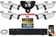 Kit Vidéo Surveillance PRO IP : 8x Caméras POE Tubes AUTOZOOM X5 IR 60M SONY 1080P + Enregistreur NVR 16 canaux H265+ 3000 Go