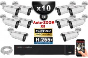 Kit Vidéo Surveillance PRO IP : 10x Caméras POE Tubes AUTOZOOM X5 IR 60M SONY 1080P + Enregistreur NVR 16 canaux H265+ 3000 Go