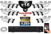 Kit Vidéo Surveillance PRO IP : 16x Caméras POE Tubes AUTOZOOM X5 IR 60M SONY 1080P + Enregistreur NVR 36 canaux H265+ 3000 Go