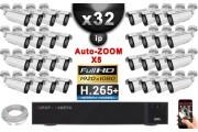 Kit Vidéo Surveillance PRO IP : 32x Caméras POE Tubes AUTOZOOM X5 IR 60M SONY 1080P + Enregistreur NVR 32 canaux H264 3000 Go