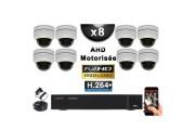 KIT PRO AHD 8 Caméras Dômes Motorisée PTZ IR 20m FULL HD 1080P + Enregistreur XVR 5MP H264+ 3000 Go / Vidéo surveillance