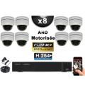 KIT PRO AHD 8 Caméras Dômes Motorisée PTZ IR 20m FULL HD 1080P + Enregistreur DVR AHD FULL HD 3000 Go / Vidéo surveillance
