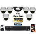 KIT PRO AHD 6 Caméras Dômes Motorisée PTZ IR 20m FULL HD 1080P + Enregistreur XVR 5MP H264+ 2000 Go / Vidéo surveillance