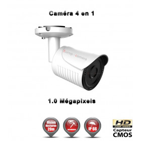 Tube 4 en 1 : AHD / CVI / TVI / Analogique HD 720P 1/3 Capteur CMOS IR 20m / Ref : EC-AHDC4i1B Blanc
