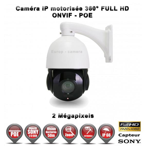 Caméra de vidéo surveillance motorisée PTZ 360° IP POE FULL HD 1080P ONVIF IR 50M ZOOM X22 Exterieur / EC-EC-PTZIP22XMINI