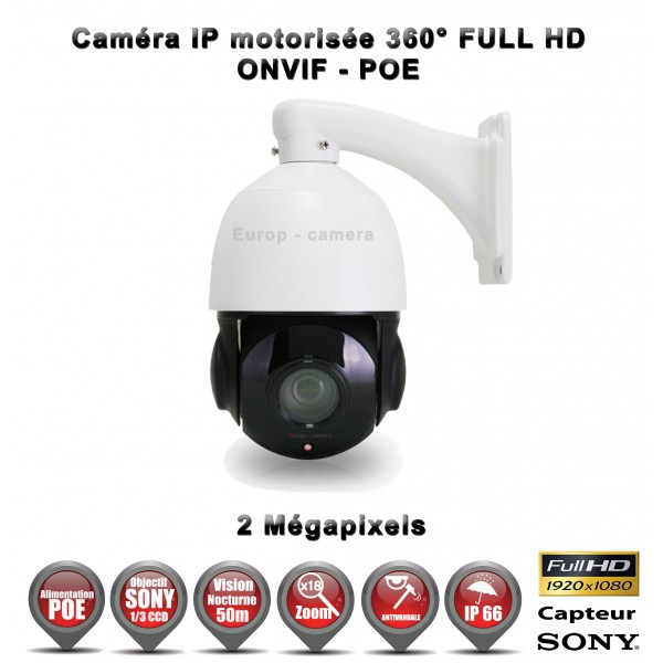 cam ra de vid o surveillance motoris e ptz 360 ip poe full hd 1080p onvif ir 50m zoom x18. Black Bedroom Furniture Sets. Home Design Ideas