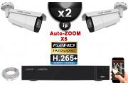 Kit Vidéo Surveillance PRO IP : 2x Caméras POE Tubes AUTOZOOM X5 IR 40M SONY 1080P + Enregistreur NVR 8 canaux H264+ 2000 Go