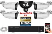 Kit Vidéo Surveillance PRO IP : 4x Caméras POE Tubes AUTOZOOM X5 IR 40M SONY 1080P + Enregistreur NVR 16 canaux H265+ 3000 Go