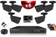 KIT ECO AHD : 6 Caméras Tubes CMOS HD 720P + Enregistreur DVR AHD 500 Go / Pack de vidéo surveillance