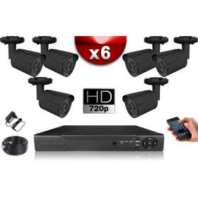 KIT ECO AHD : 6 Caméras Tubes CMOS HD 720P + Enregistreur XVR H265+ 500 Go / Pack de vidéo surveillance