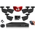 KIT ECO 6 Caméras Tubes CMOS + Enregistreur DVR 500 Go / Pack de vidéo surveillance