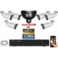 Kit Vidéo Surveillance PRO IP : 6x Caméras POE Tubes AUTOZOOM X5 IR 40M SONY 1080P + Enregistreur NVR 16 canaux H265+ 3000 Go