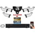 Kit Vidéo Surveillance PRO IP : 6x Caméras POE Tubes AUTOZOOM X5 IR 40M SONY 1080P + Enregistreur NVR 9 canaux H265+ 2000 Go
