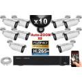 Kit Vidéo Surveillance PRO IP : 10x Caméras POE Tubes AUTOZOOM X5 IR 40M SONY 1080P + Enregistreur NVR 32 canaux H264 3000 Go