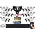 Kit Vidéo Surveillance PRO IP : 16x Caméras POE Tubes AUTOZOOM X5 IR 40M SONY 1080P + Enregistreur NVR 25 canaux H265+ 3000 Go
