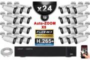 Kit Vidéo Surveillance PRO IP : 24x Caméras POE Tubes AUTOZOOM X5 IR 40M SONY 1080P + Enregistreur NVR 32 canaux H264 3000 Go