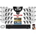 Kit Vidéo Surveillance PRO IP : 24x Caméras POE Tubes AUTOZOOM X5 IR 40M SONY 1080P + Enregistreur NVR 36 canaux H265+ 3000 Go