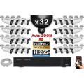 Kit Vidéo Surveillance PRO IP : 32x Caméras POE Tubes AUTOZOOM X5 IR 40M SONY 1080P + Enregistreur NVR 32 canaux H264 3000 Go