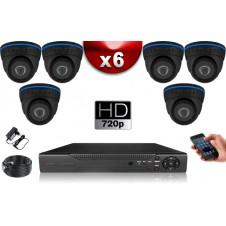 KIT ECO AHD : 6 Caméras Dômes CMOS HD 720P + Enregistreur DVR AHD 500 Go / Pack de vidéo surveillance