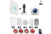 Kit Alarme IP WIFI sans fil + Caméra WIFI HD CHUANGO + Incendie + Clavier + Sirène flash intérieure CHUANGO