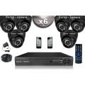 KIT CONFORT 6x Caméras Dômes 700 TVL + Enregistreur DVR 500 Go / Pack de vidéo surveillance