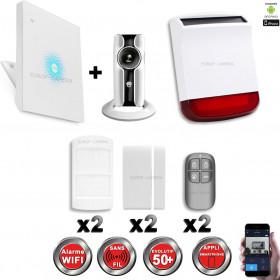 Kit Alarme IP WIFI sans fil + Caméra WIFI HD + sirène flash solaire CHUANGO
