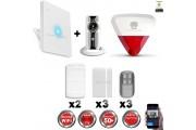 Kit Alarme IP WIFI sans fil + Caméra WIFI HD + sirène flash intérieure extérieure CHUANGO