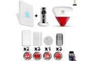 Kit Alarme IP WIFI sans fil + Caméra WIFI HD + incendie + sirène flash intérieure extérieure CHUANGO