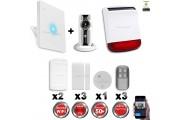 Kit Alarme IP WIFI sans fil + Caméra WIFI HD + incendie + sirène flash solaire CHUANGO