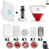 Kit Alarme IP WIFI sans fil + Caméra WIFI HD + incendie + clavier + sirène flash intérieure extérieure CHUANGO
