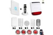 Kit Alarme IP WIFI sans fil + Caméra WIFI HD + incendie + clavier + sirène flash solaire CHUANGO