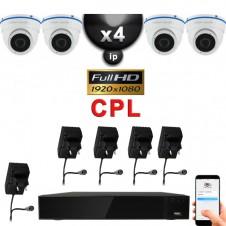 KIT VIDÉO SURVEILLANCE PRO IP : 4X CAMÉRAS DOMES CPL IR 20M Capteur SONY FULL HD 1080P + ENREGISTREUR NVR CPL H264 HD 2000 GO