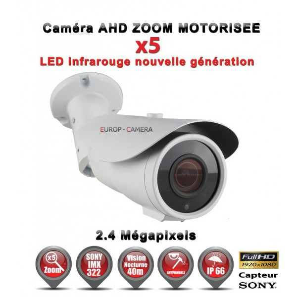 "Tube AHD CVI TVI ZOOM Motorisée X5 Anti-vandal FULL HD 1080P 2.4MP Capteur 1/2.7"" SONY IMX323 IR 40m étanche réf: EC-AHDC40FHDAZ"