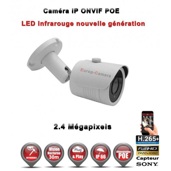 TUBE IP ANTI-VANDAL IR 30M ONVIF POE SONY 1080P 2.4 MP / REF : EC-C2MP - CAMÉRA DE VIDÉO SURVEILLANCE NUMÉRIQUE IP