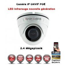 Dôme IP anti-vandal IR 20M ONVIF POE Capteur SONY 1080P 2.4MP / ref : EC-D2MP20 - caméra de vidéo surveillance IP