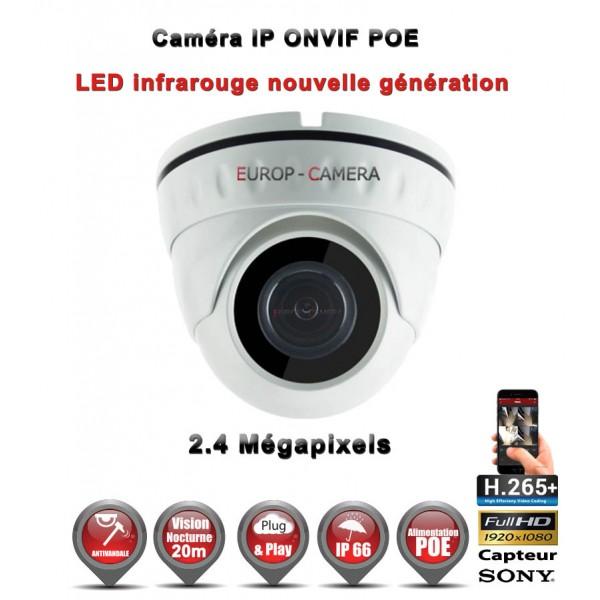 Dôme IP anti-vandal IR 20M ONVIF POE SONY 1080P 2.4 MP / Ref : EC-D2MP20 - Caméra de vidéo surveillance numérique IP