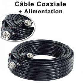 Câble 2 en 1 : BNC vidéo + alimentation 12V de 30m