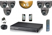 KIT PRO 6x Caméras Dômes 700 TVL + Enregistreur DVR 1000 Go FULL D1 / Pack de vidéo surveillance professionnel