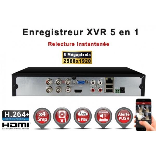 Enregistreur numérique 5 en 1 XVR AHD CVI TVI IP 4 canaux H265+ 5MP 4MP 1080P FULL HD / Ref : EC-XVRAHD41080