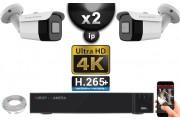 Kit Vidéo Surveillance PRO IP 2x Caméras POE Tubes IR 30M Capteur SONY UHD 4K + Enregistreur NVR 30 canaux H265+ UHD 4K 2000 Go