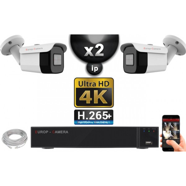 Kit Vidéo Surveillance PRO IP 2x Caméras POE Tubes IR 40M Capteur SONY UHD 4K + Enregistreur NVR 12 canaux H265+ UHD 4K 2000 Go