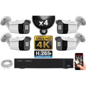 Kit Vidéo Surveillance PRO IP 4x Caméras POE Tubes IR 40M Capteur SONY UHD 4K + Enregistreur NVR 30 canaux H265+ UHD 4K 3000 Go