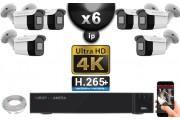 Kit Vidéo Surveillance PRO IP 6x Caméras POE Tubes IR 30M Capteur SONY UHD 4K + Enregistreur NVR 12 canaux H265+ UHD 4K 3000 Go
