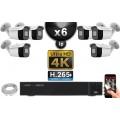 Kit Vidéo Surveillance PRO IP 6x Caméras POE Tubes IR 30M Capteur SONY UHD 4K + Enregistreur NVR 30 canaux H265+ UHD 4K 3000 Go
