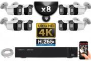 Kit Vidéo Surveillance PRO IP 8x Caméras POE Tubes IR 30M Capteur SONY UHD 4K + Enregistreur NVR 12 canaux H265+ UHD 4K 3000 Go