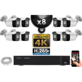 Kit Vidéo Surveillance PRO IP 8x Caméras POE Tubes IR 40M Capteur SONY UHD 4K + Enregistreur NVR 10 canaux H265+ UHD 4K 3000 Go